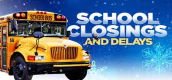 picture of school bus with school closings and delays as a caption