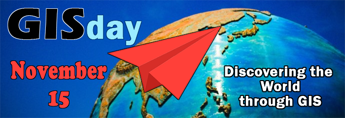 GIS Day November 15 - Discovering the World through GIS - red paper airplane circling the globe