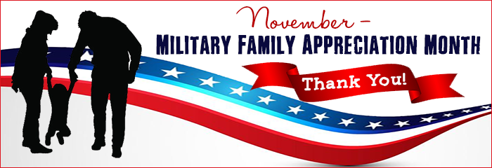 November is Military Family Appreciation Month - Thank you! Silhouette of parents and young child agains stars and stripes ribbon