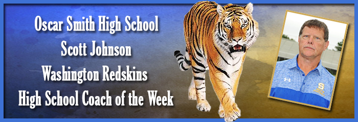 Oscar Smith High School - Scott Johnson - Washington Redskins High School Coach of the Week - Tiger Mascot and Coach Johnson in polo shirt