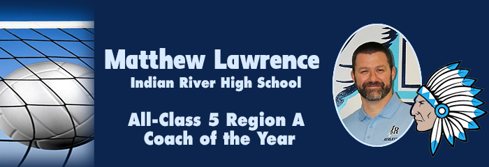 Matthew Lawrence - All-Class 5 Region A Coach of the Year - volleyball in a net - matthew in an IRH polo