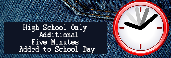 High School Only - 5 minutes added to school day - Clock on Jeans pocket