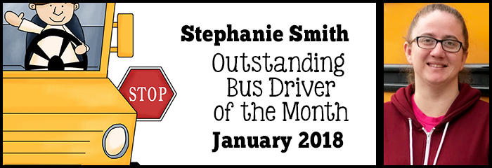 Stephanie Smith - outstanding bus driver of the month - january - stephanie in front of bus