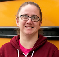 Smiling bus driver Stephanie Smith