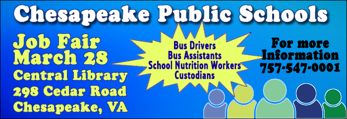Job Fair March 28 Central Library Bus Drivers, School Nutrition workers, custodians