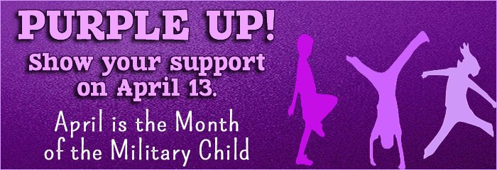 purple up show your supoort on April 13th Military child month