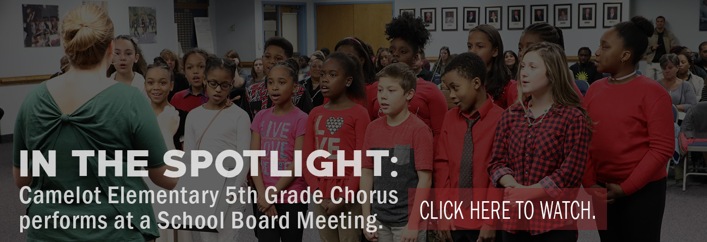 In the Spotlight: Camelot Elementary 5th grade chorus performs at a School Board Meeting.