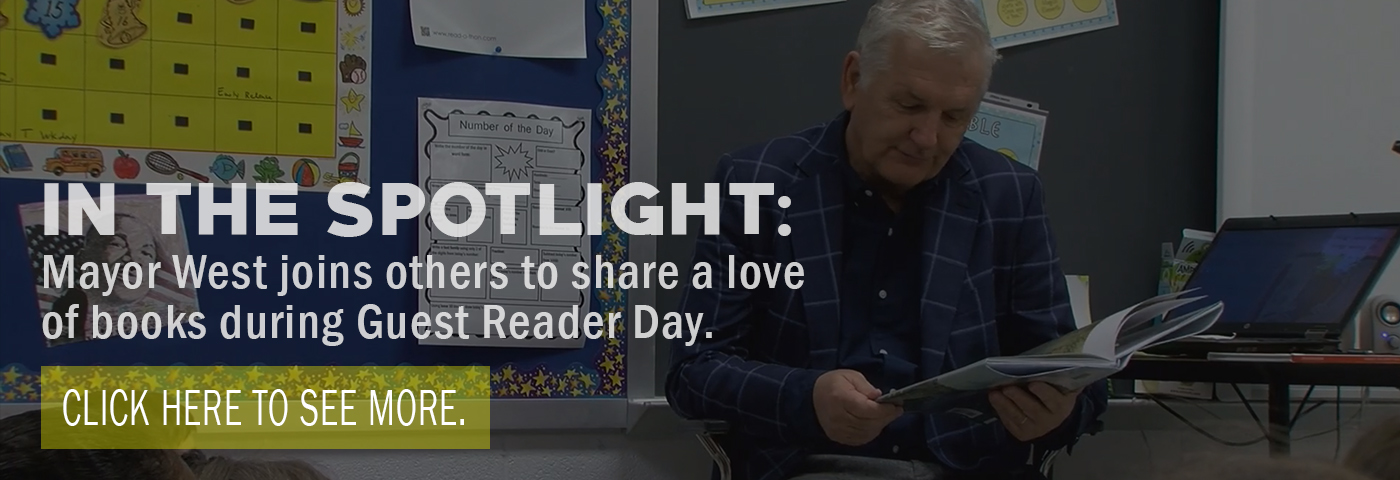 In the spotlight: Mayor West joins others to share a love of books at Guest Reader Day. Click here to see more.