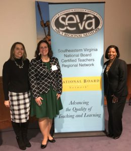Amie Seigle, Chesapeake Public Schools staff development administrator; Margaret Sawyer, Greenbrier Intermediate School teacher; Dalphine Joppy, Chesapeake Public Schools director of staff development