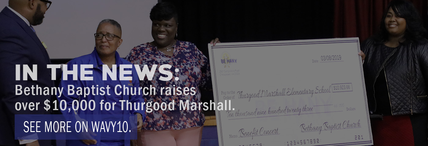 In the News: Bethany Baptist Church raises over $10,000 for Thurgood Marshall. Watch more on Wavy10.