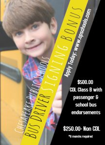 Bus Driver Signing Bonus: $500.00 CDL Class B with passenger and school bu endorsements