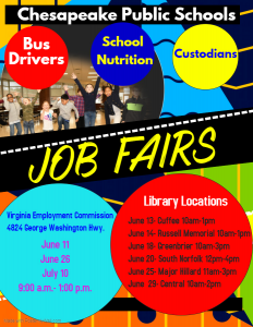 Chesapeake Public Schools Job Fair @ Major Hillard Library
