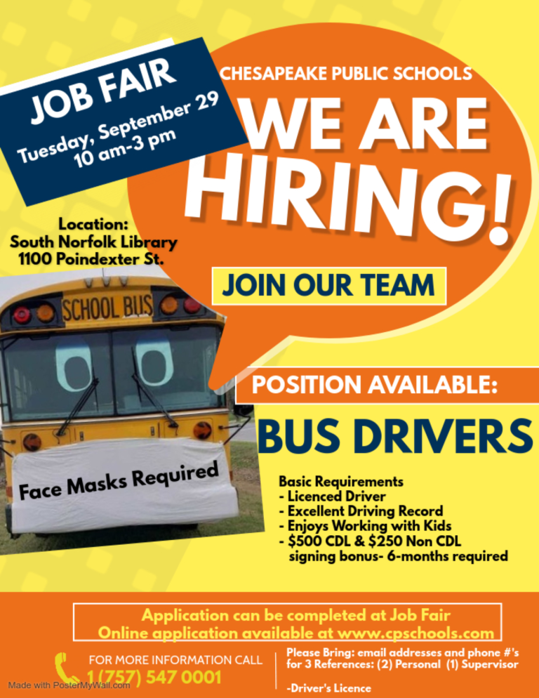 JOB FAIR: Bus Drivers Needed! @ South Norfolk Library