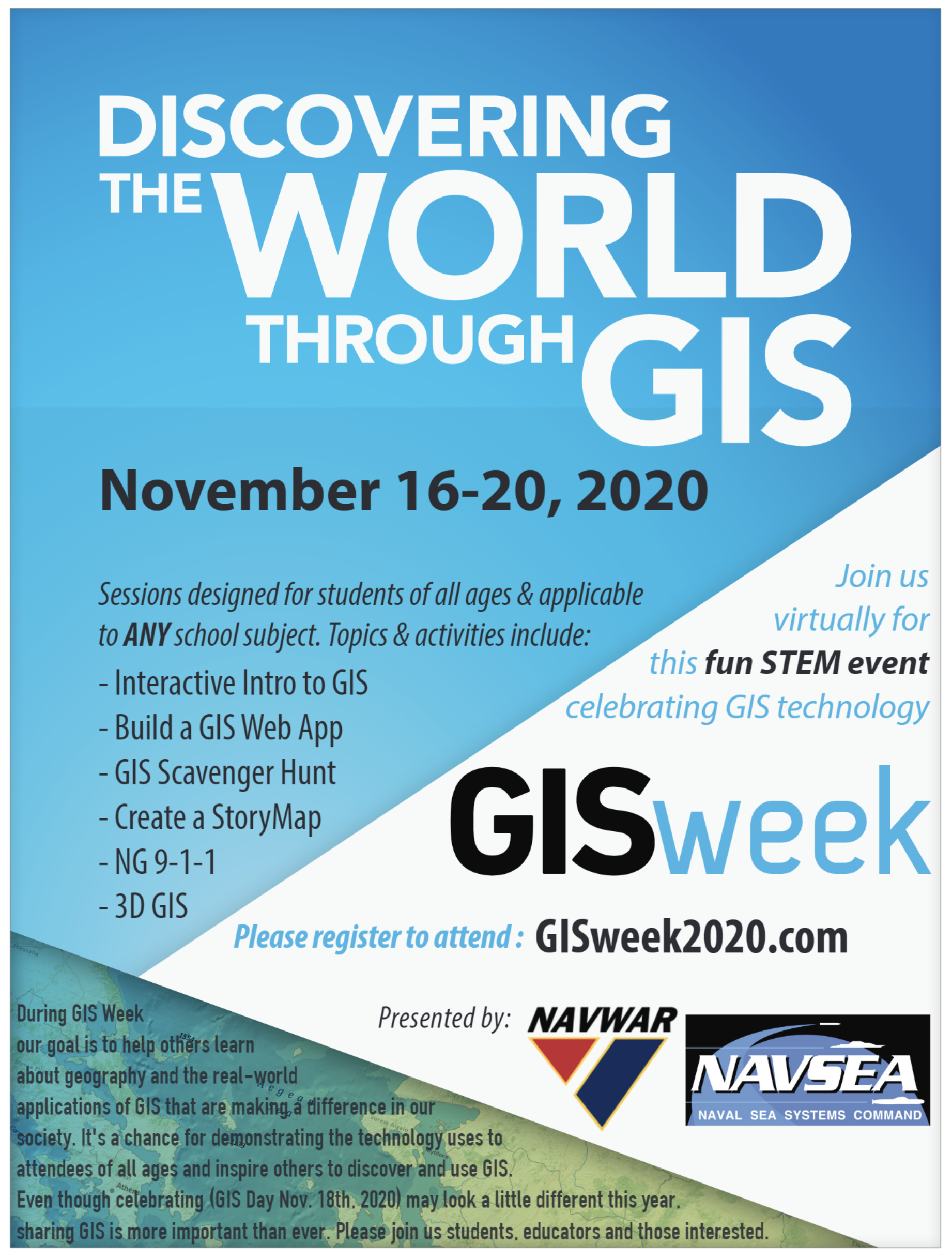 Discovering the World through GIS flyer (see description for details)