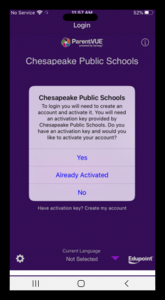 Screenshot of CPS ParentVUE mobile app SETTINGS Screen