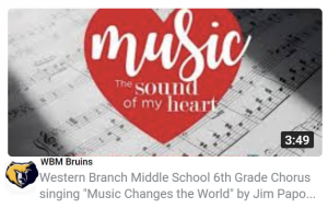 YouTube still: WBM Bruins 6th Grade Choral Performance