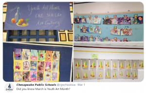 Twitter link: Youth Art Month featuring CRE