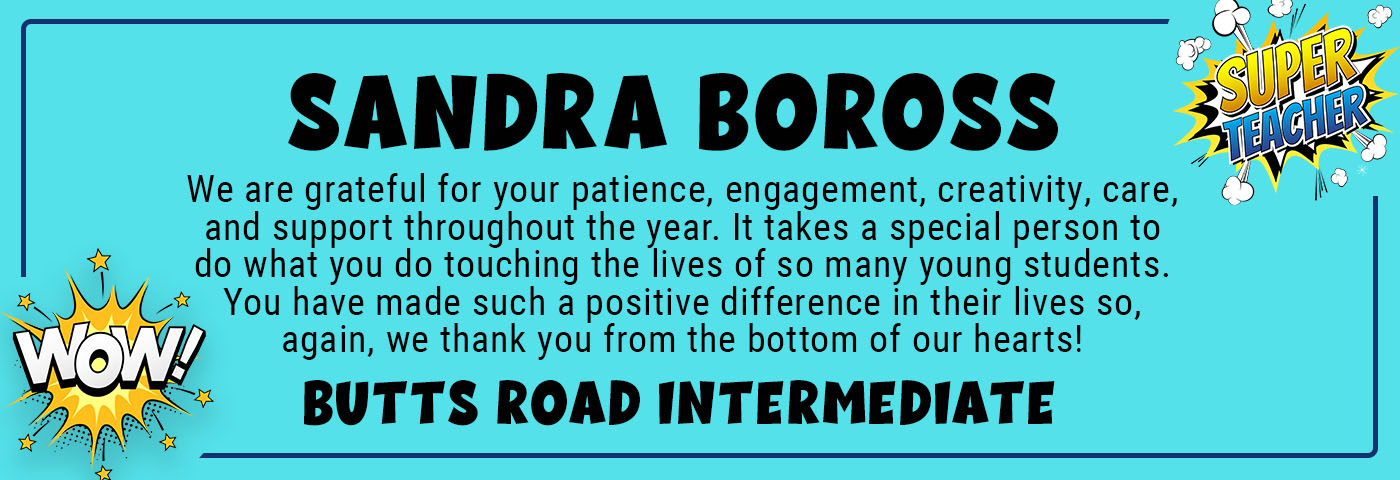 Sandra Boross_BRI - We are grateful for your patience, engagement, creativity, care, and support throughout the year. It takes a special person to do what you do touching the lives of so many young students. You have made such a positive difference in their lives so, again, we thank you from the bottom of our hearts!