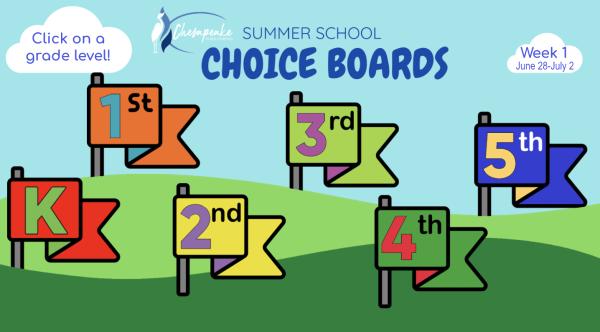 Chesapeake Public Schools SUMMER SCHOOL CHOICE BOARDS screen clip of title page
